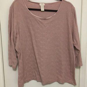 Dusty pink tee, J Jill, 4X, textured fabric